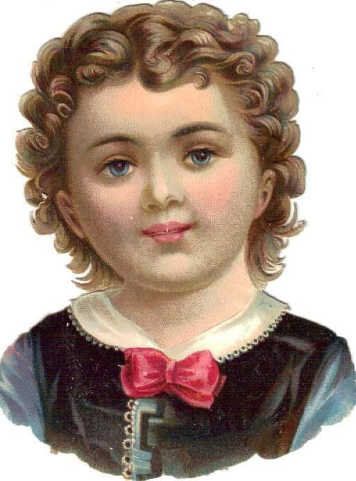 Victorian Die Cut Scrap Blue Eyed Curly Hair Boy c1880:
