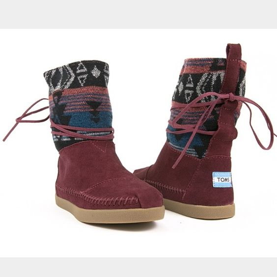 Toms Women's Nepal Boots In Burgundy Suede Brand in without the tags, never been worn! Women's sizes 7.5 very RARE! TOMS Shoes Lace Up Boots