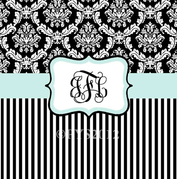 Shower Curtains black and blue shower curtains : Damask and Stripe - Black and White - Blue Shower Curtain - Any ...
