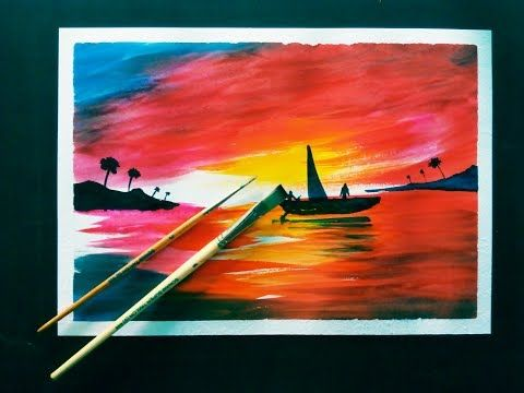 easy sunset painting ideas with poster