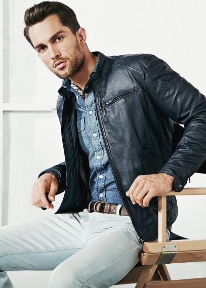 look: black leather jacket   denim shirt   white chinos | My