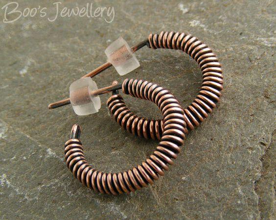 Copper wire wrapped hoop earrings with a post fitting by BooJewels