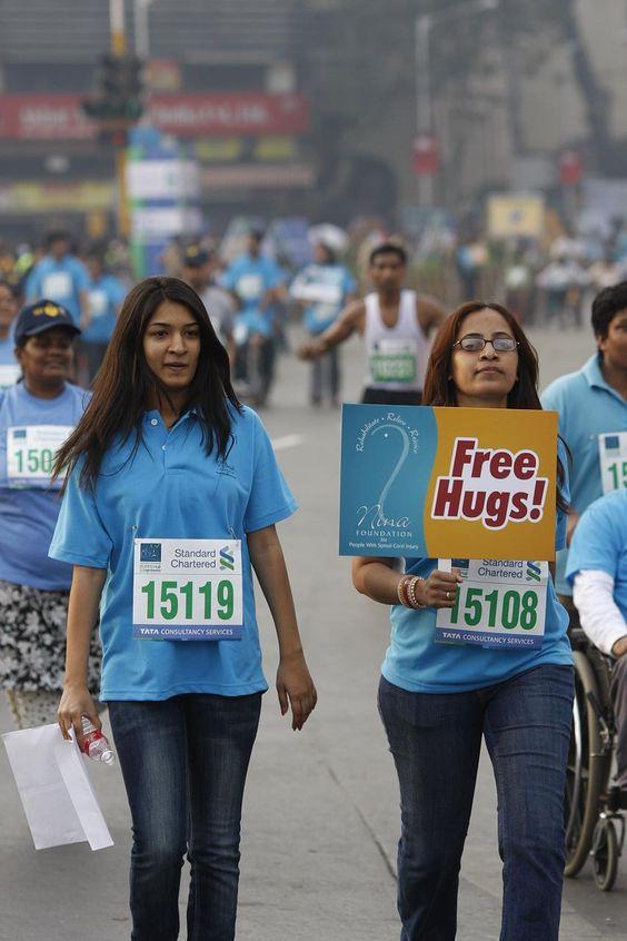 Free hug campaign in #mumbai