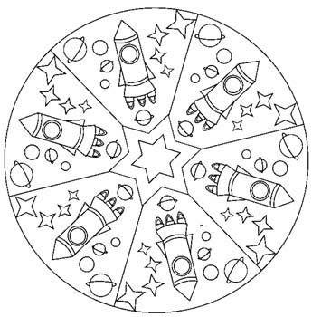 Mandala fusée #mandala #mandalas #coloriage | Thema ruimte ...
