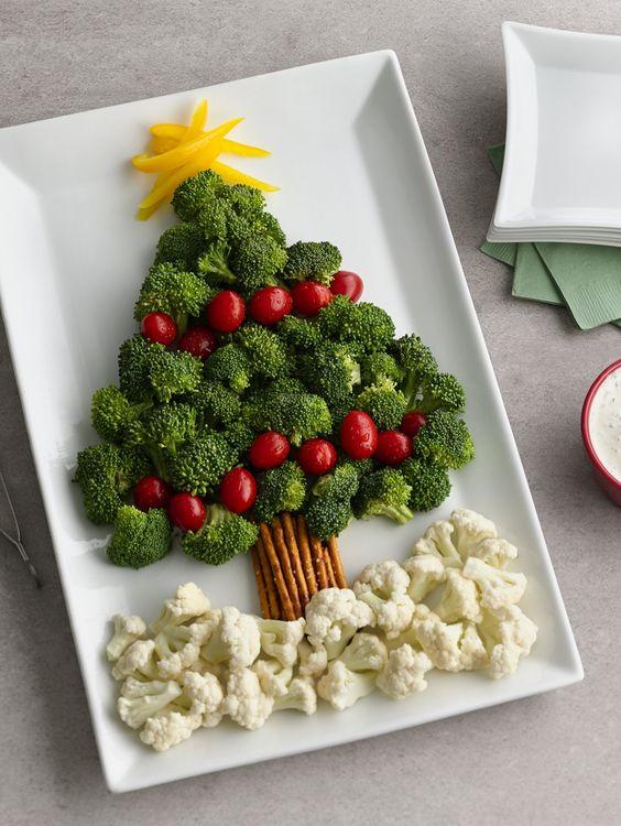Christmas tree vegetable platter recipe christmas - Christmas tree shaped appetizers ...