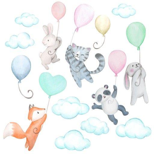 Naklejki Scienne Dla Dzieci Samolot Balony Chmury Baby Mobile Baby