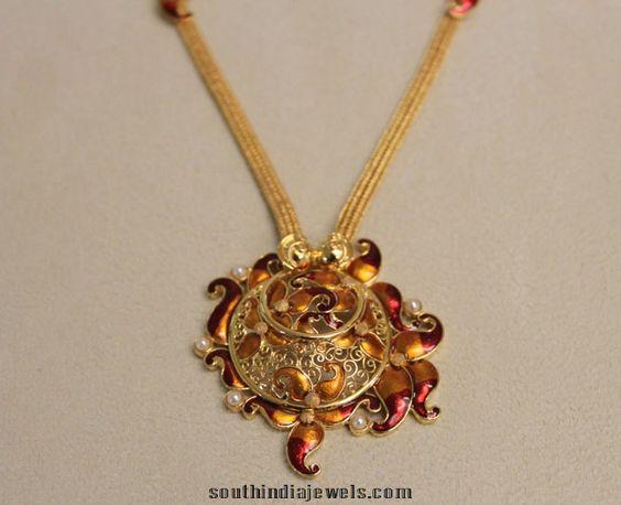Latest Enamel coated fashionable yellow gold necklace designs