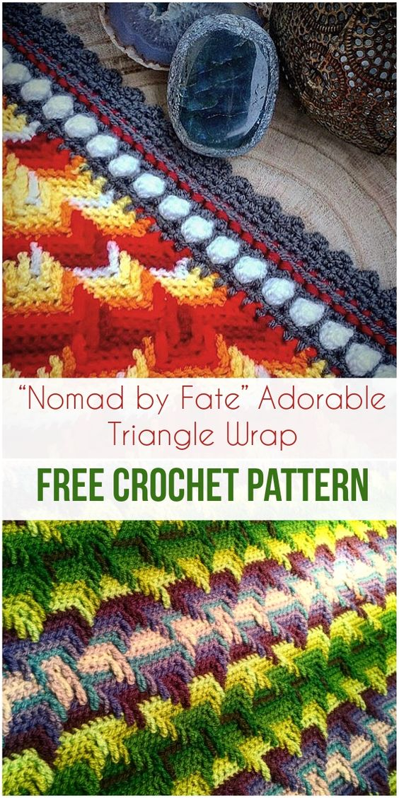 """Nomad by Fate"" Adorable Triangle Wrap Free Crochet Pattern #freecrochetpatterns #crochet #wraps #apachetears #fashion #style #craft #crochetlove"