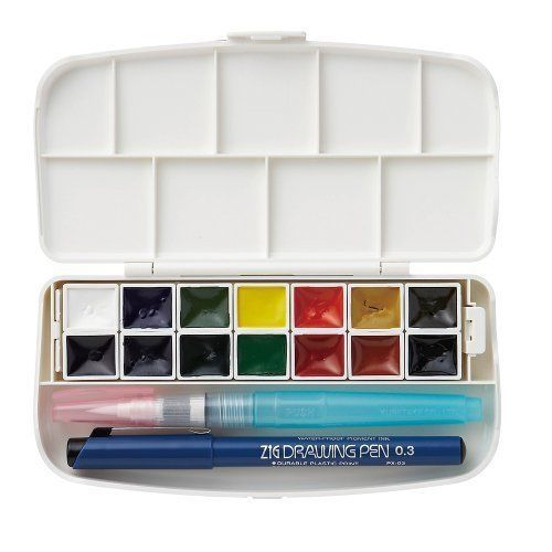 Details About Kuretake Kg301 1 Phys Watercolor Palette 14 Paint