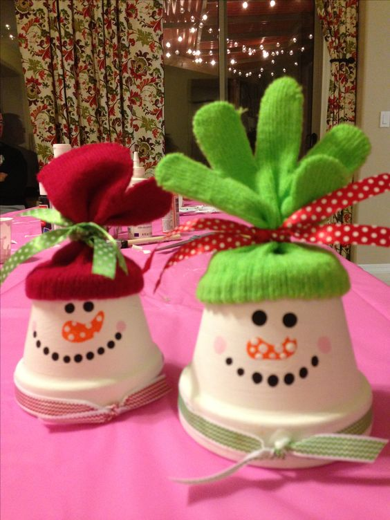 Snowman clay pot craft with glove hat: