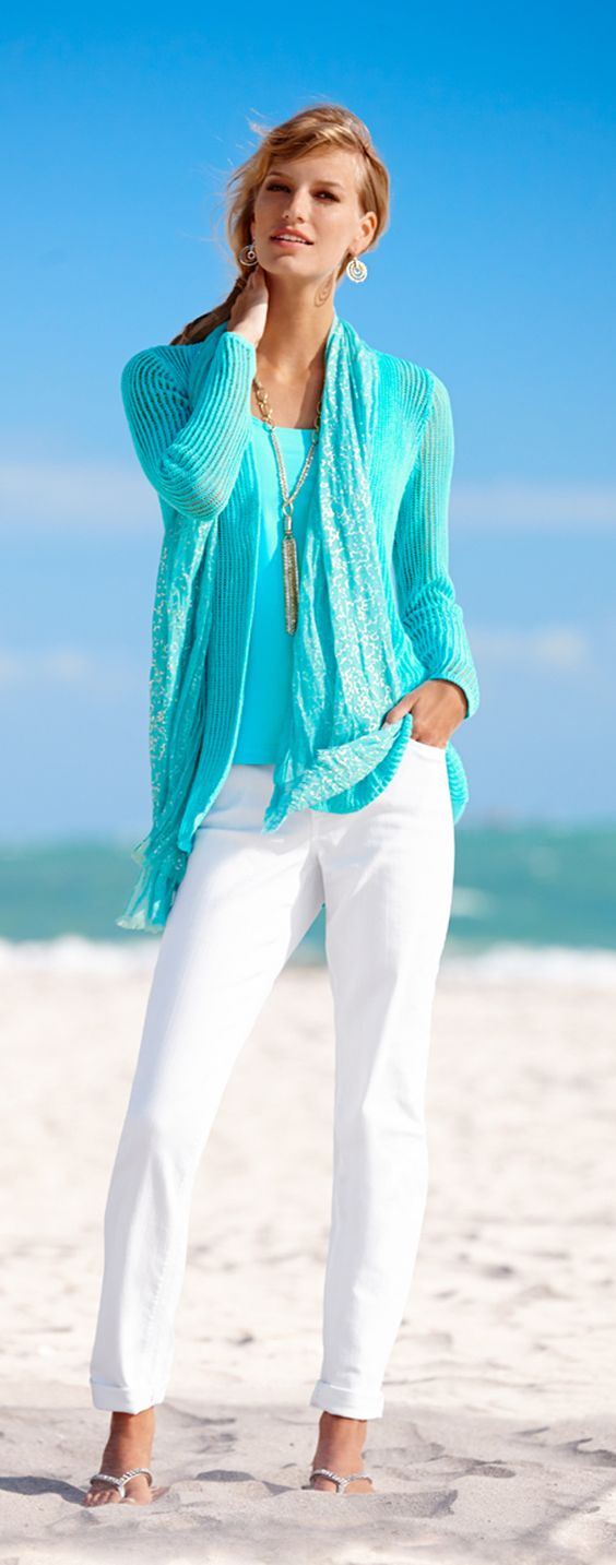 Cool Cardi: The layer you need reinvented with a hi-low hem and open stitch. #DestinationFabulous #chicos: