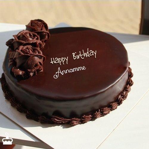 Happy Birthday Annamme Write Name On Chocolate Cake For Birthday