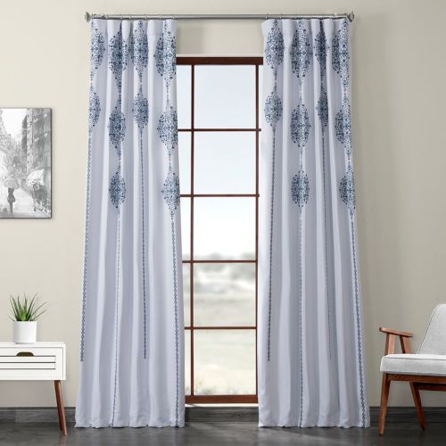 Half Price Drapes Blue Printed 120 X 50 Inch Polyester Blackout