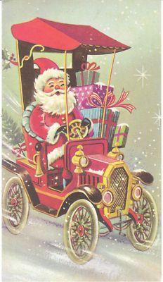 Vintage Christmas Card Santa Claus in Model T Car 1972 Antique Auto Automobile | eBay: