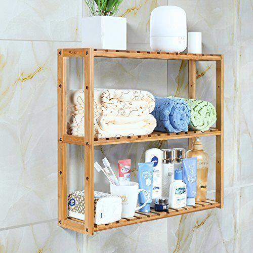 Homfa Bambus Badezimmer Regal 3 Tier Multifunktionale Einstellbare Schicht Rack Wand Bathroom Organization Bambus Regal Bambus Badezimmer Badezimmer Regal