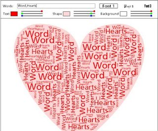 Use this tool to fill the heart shape with the word(s) of your choice.  Then change your fonts, color, shape, and background.  http://www.neoformix.com/Projects/WordHearts/