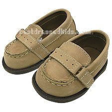 Your little gentleman will look so handsome in these Baby Deer leather loafers.  .  .     tan suede baby shoes .     hook & loop closure .     textured rubber sole .     comes in keepsake box .  . Baby Deer uses their personalized shoe sizes--click here to view conversion chart.