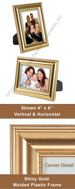 """Picture Frame for 4"""" x 6"""" Photo in Portrait or Landscape, for Tabletop or Wall Mount Use - Shiny Gold"""