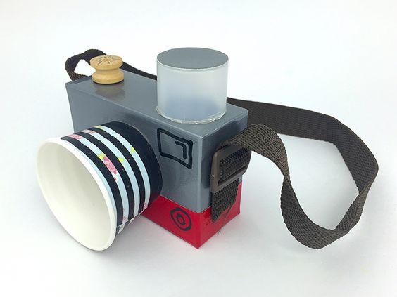 How to make a DIY Toy Camera from a small cardboard box and paper cup - recycled craft for kids by @mollymooblog: