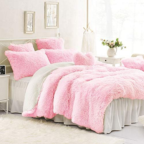 Sleepwish Pink Shaggy Duvet Cover Ultra Soft Plush Faux Fur Bedding Set 3 Pieces Luxury Teenage Girls Duvet Cover Sets King Size Bedding Sets Faux Fur Bedding