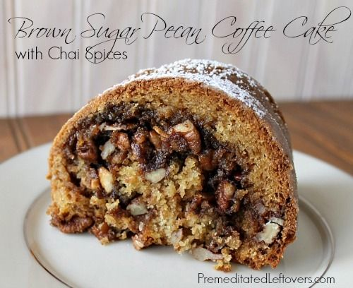 Brown Sugar Pecan Coffee Cake Recipe with Chai Spices #brownie #food