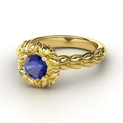 Catalina Ring :: Round Sapphire 14K Yellow Gold Ring with London Blue Topaz $3,780