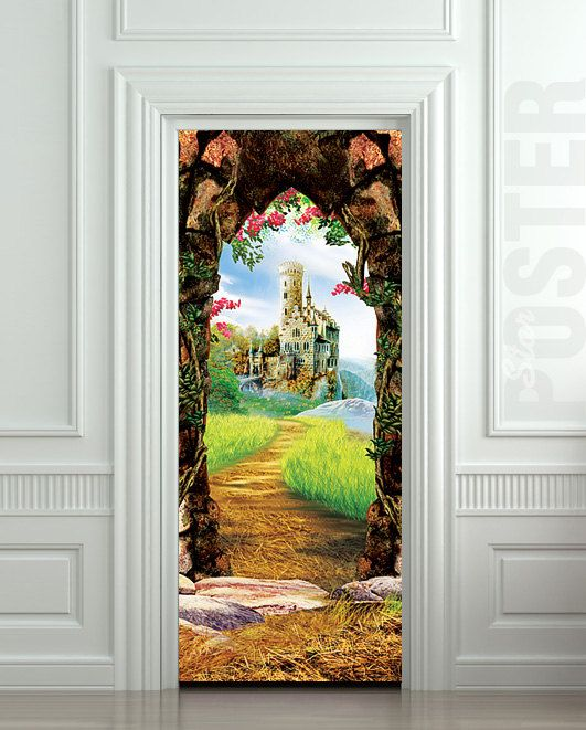 Door sticker castle cave cavern grotto mural decole film for Fairy door for wall
