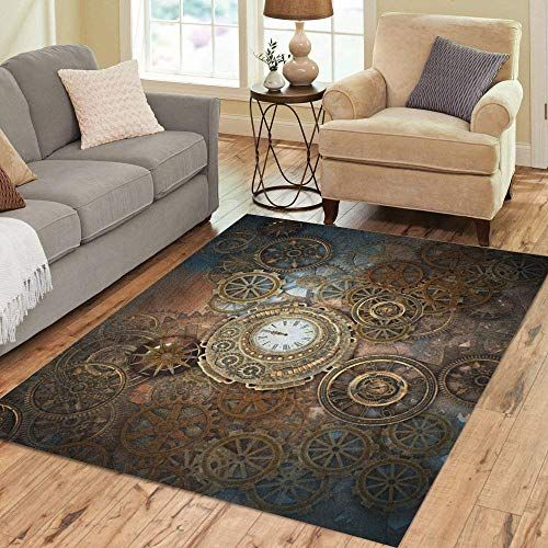 Pinbeam Area Rug Rusty Steampunk Clock And Different Kinds Of Gears Home Decor Floor Rug 5 X 7 Carpet Decorsteampunk Floor Rugs Rugs Steampunk Home Decor