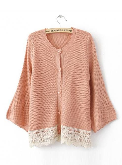 Pink Bat Long Sleeve Sweater with Lace $42.00