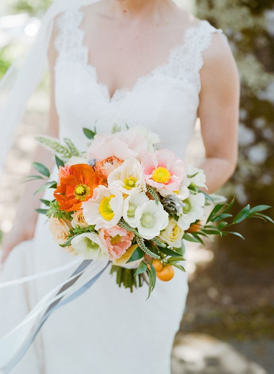 orange poppy bouquet, yellow poppy bouquet, bold poppy bouquet, icelandic poppy wedding bouquet, amanda vidmar design, alicia k designs, kunde wedding
