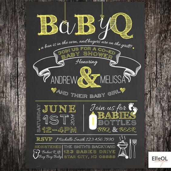 babyq chalkboard couples co-ed baby shower bbq invitation - babyq, Baby shower invitations