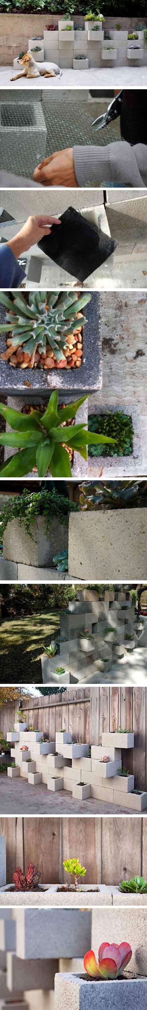 Jardineras con bloques de hormig n plantas y jard n for Jardineras con bloques