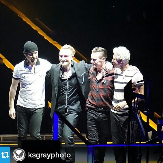 #Repost @ksgrayphoto  I was so fortunate to capture a rare photo last night of these 4 fine lads! #U2ieTour #U2 #shootdotedit #sonyphotography #Sonya6000