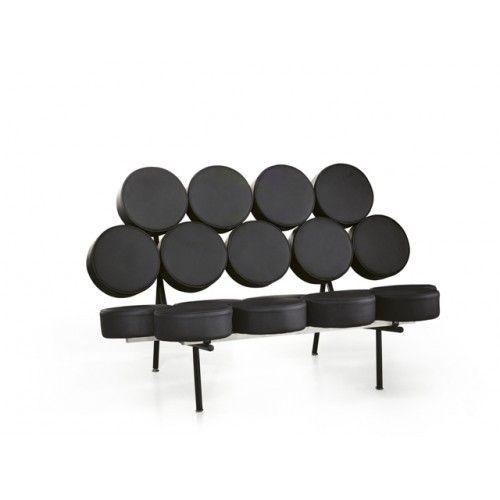 'Xena' Nicely designed George Nelson Sofa Replica in black leather by Nova Deko.