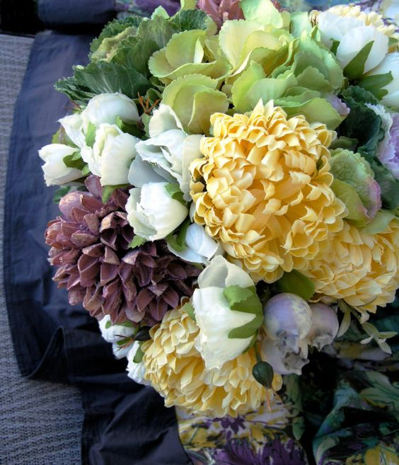 butter yellow chrysanthemums cabbage garden bridal bouquet. #dteam
