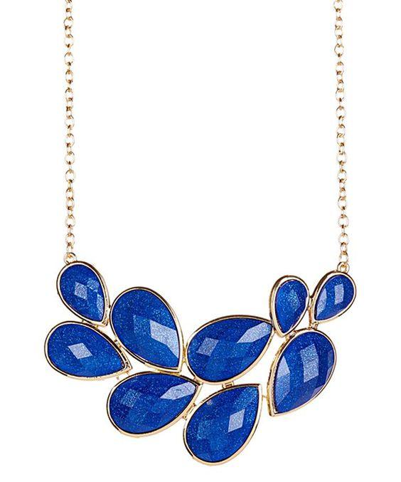 Look at this #zulilyfind! Blue & Gold Teardrop Glitter Bib Necklace by Lux Accessories #zulilyfinds