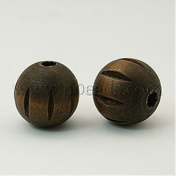 Wood Beads,  Lead Free,  Dyed,  with Carved Pattern,  Round,  Coffee,  25mm,  Hole: 5.5mm