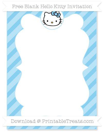 Free Baby Blue Diagonal Striped Blank Hello Kitty Invitation
