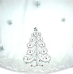 """56"""" White Jeweled Tree Skirt"""