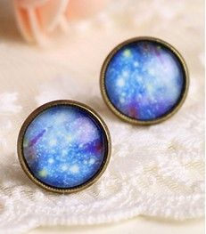 Image of [grdx02117 zxy]Shiny Blue Sky Abstract Earrings