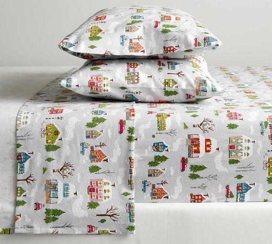 Winter Village Organic Flannel Sheet Set Organic Flannel Christmas Bedding Organic Sheet Set