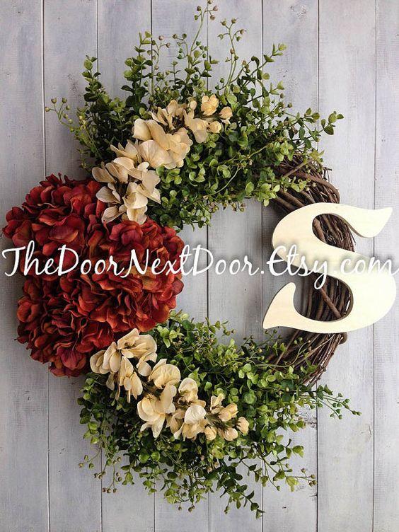 Christmas Wreath - Wreath For Fall - Winter Wreath - Red Hydrangea Wreath - Autumn Arrangement