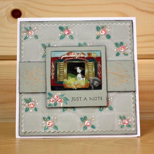 CS128D 'Riverside' Clear set contains 12 stamps.Designed by Sharon Bennett for Hobby Art. Card made by Sally Dodger: