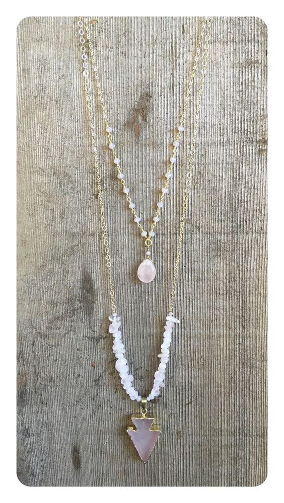 Double Chain Necklace with Rose Quartz by ChakraBootyJewelry