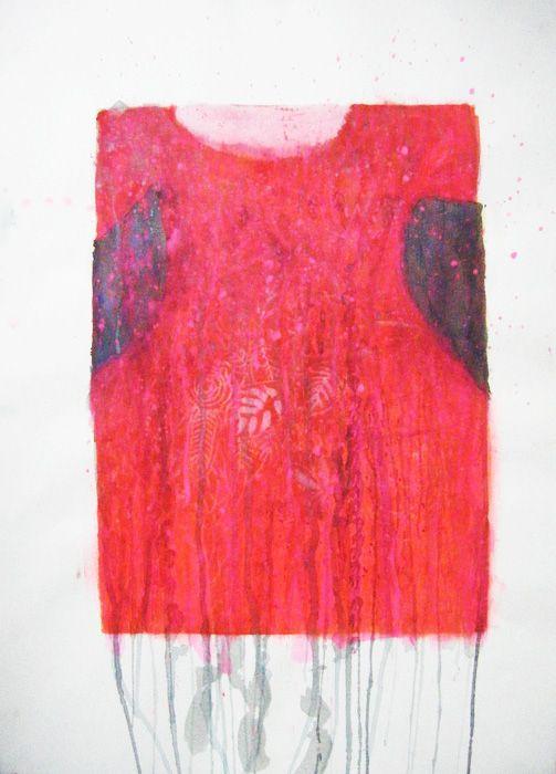 Robe Heliade - linoprint and painting on paper Valérie Belmokhtar#art http://vbelmokhtar.free.fr