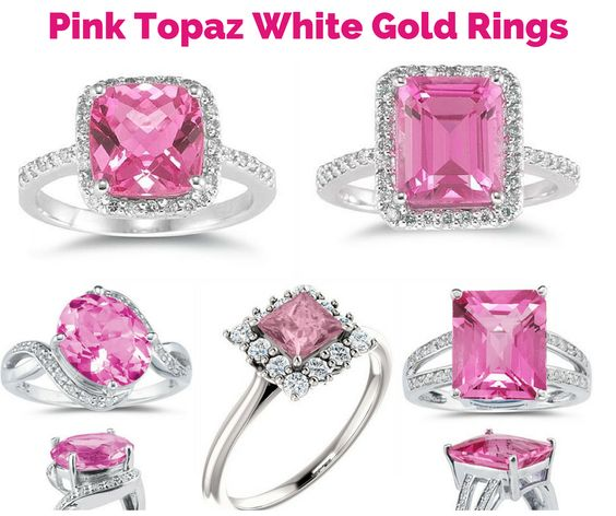 White Gold Pink Topaz Diamond Rings in Time for Valentine's Day!