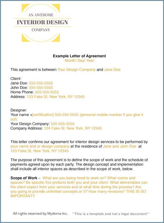 Free Template How To Write An Interior Design Letter Of Agreement
