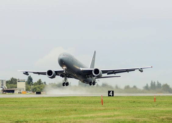 A Boeing KC-46 Pegasus tanker (EMD-2) took to the skies for its first flight at Paine Field in Everett, Wa., Sept. 25, 2015. (U.S. Air Force photo/Jet Fabara)