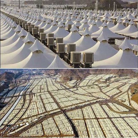 Only 8 km from Mecca in Saudi Arabia, this giant tent camp is located. It can accommodate 3,000,000 (3 million) people, but not a single refugee is allowed. It has tents with air condition