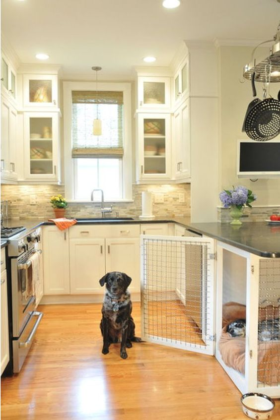I love how the dog crate is incorporated into the kitchen design!  My dog's comfort when he hangs out in the kitchen with me is of high importance (Because he's spoiled).